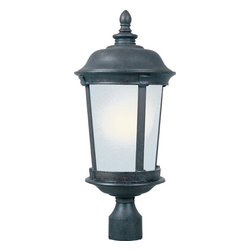 Maxim Lighting - Maxim Lighting Dover EE Traditional Outdoor Post Lantern Light X-ZBSF29058 - Simple, fuss-free traditional styling ensures that this Maxim Lighting outdoor post lantern light will please even the fussiest of design aficionados. From the Dover Collection, the gentle tapering has been paired with a fluid domed roof and turned detailing on the finial. A dark Bronze finish and frosted seedy glass shade pull the look of this die cast aluminum post light together.