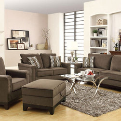 None - Paradise 4-piece Living Collection - The Paradise Collection is rich with a contemporary look that is trendy and inviting. Covered in a luxurious velvet,the furniture is soft to the touch and brings comfort to each piece.