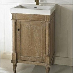 "Fairmont Designs - Fairmont Designs Rustic Chic 21"" Vanity & Sink Set - Weathered Oak - Designed to flaunt the beauty of its wood, Rustic Chic invites you to bring a touch of texture to your bath. The earth-bound, organic look derives its appeal from clean lines and tactile Weathered Oak veneers, accented with subtle brass finished knobs. A variety of cabinet sizes and configurations allows you to customize your space...naturally. Fairmont Designs is described in two words; quality and beauty. Express your creativity with Fairmont Designs bathroom vanities and bath furniture ensembles. The distinctive families of bath furniture from Fairmont Designs come in styles for every bath. Artistry and elegance are delivered in carefully constructed products built with sustainable materials and sturdy craftsmanship. From petite corner solutions to traditional sized pieces, Fairmont Designs is your choice for exquisite and timeless beauty.Features: Materials: White Oak Veneers with White Oak Solids Hinges: Fully concealed, soft closing Hardware: Brass Hardware: Brass Dimension: 21-1/2""W x 17-3/4""D x 36""H  How to handle your counter View Spec Sheet"