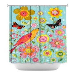 DiaNoche Designs - Shower Curtain Artistic - Flower Meadow - DiaNoche Designs works with artists from around the world to bring unique, artistic products to decorate all aspects of your home.  Our designer Shower Curtains will be the talk of every guest to visit your bathroom!  Our Shower Curtains have Sewn reinforced holes for curtain rings, Shower Curtain Rings Not Included.  Dye Sublimation printing adheres the ink to the material for long life and durability. Machine Wash upon arrival for maximum softness. Made in USA.  Shower Curtain Rings Not Included.
