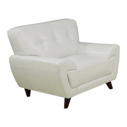Monarch Specialties - Monarch Specialties 8801WH Upholstered Chair in White Leather - This modern white bonded leather chair will make a wonderful addition to your living room. Its contemporary shape enhances any room with its plush back, box seat cushions and slightly angled lines. The stitching and button tufted design enhances the look of this chair. The chic design creates an inviting feel, and solid feet provide sturdy support this piece. It is also a perfect match with the sofa and love seat.