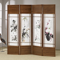 Asia Direct Home - Chinese Floral Painting Shoji Room Divider Sc - Four panel. Classic calligraphy screen. Wooden frame. Design pattern only appears on the front. Thickness: 1 in.. Overall: 68 in. W x 70 in. H