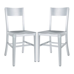 """Modway - Milan Dining Chairs Set of 2 in Silver - Cafe-inspired aluminum design with a timeless appeal. Make yourself a space where time stands still. Includes: Two - Milan Dining Chairs; For All Weather Use; 100% Recycled Aluminum; Dipped Anodized Finished; Lightweight and Sturdy; Dimensions: 19""""L x 15.5""""W x 33""""H; Seat Height: 18""""H"""