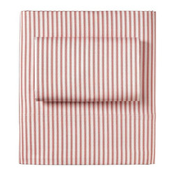 Ticking Stripe Sheet Set, Barn Red - Update the guest bedding with these festive red and white pinstriped sheets from Serena & Lily.