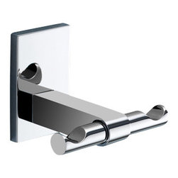 Gedy - Polished Chrome Double Hook - Decorative double robe or towel hook made of brass in a chrome finish.