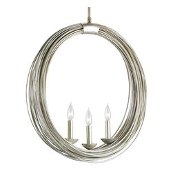 Currey and Company - Haley Chandelier - Wrought iron bands, glowing in Antique Silver Leaf finishing, wrap themselves around three candles resting in the center of the Haley Chandelier. Reminscent of a gypsy's arm trinkets, this whimsical and modern chandelier is as stylish as it is progressive.