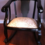 Something Old & Something New - Beautiful late 1800's Solid Hand Carved Claw Foot Mahogany Rocker for sale.  Completley refinished in a sheer ebony finish and upholstered in a beautiful designer fabric.