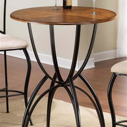 Hillsdale - Pacifico Bar Height Bistro Table - Constructed of sturdy fully welded heavy gauge metal, wood, climate controlled wood composites and veneers. Black w Copper Highlights & Honey Maple Accents color. Assembly required. 34 in. Dia. x 42 in. H Black metal with copper highlights mix with wood incised in a Honey Maple tone to accomplish the cool, refreshing look of Hillsdale's Pacifico Bistro collection. A generous 34 in. round table top is supported by a unique base built with interlocking half spheres. Make this transitionally designed ensemble perfect for your bar, dining room or eat in kitchen.