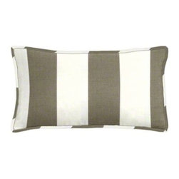 "Cushion Source - Bistro Driftwood Striped Outdoor Lumbar Pillow - The 20"" x 12"" Bistro Checkerboard Striped Outdoor Lumbar Pillow features a classic and bold taupe and white alternating stripe pattern."