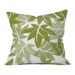 DENY Designs - Sabine Reinhart Green Leaves Throw Pillow - Wanna transform a serious room into a fun, inviting space? Looking to complete a room full of solids with a unique print? Need to add a pop of color to your dull, lackluster space? Accomplish all of the above with one simple, yet powerful home accessory we like to call the DENY throw pillow collection! Custom printed in the USA for every order.