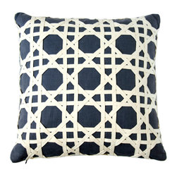 Canning Lattice Overlay Pillow - Navy/Natural - Smart navy linen conveys a nautical air when placed behind a taut net of flax-white cloth woven into the even, active diagonal lines of a double grid.  The Canning Lattice Overlay Pillow is a graphic addition to your seaside d�cor or a perfect choice for geometric drama in a traditional inland room.  Though this accent cushion is a large square, the placement of the lattice gives it invitingly plump, tailored corners � welcoming you to your comfortable furnishings.