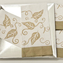 None - Hand-painted Leaf Guest Towels (Set of 4) - Add a touch of elegance to your guests stay at your home with this hand-painted linen towel set. This set includes four white towels made from a blend of linen and cotton. These machine-washable towels feature a beautiful botanical design.