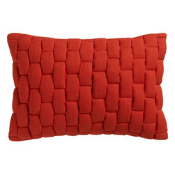 "mason quilted red orange 18""x12"" pillow with feather-down insert -"