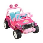 Fisher-Price - Fisher-Price Power Wheels Barbie Jammin Jeep Battery Powered Riding Toy - Pink - - Shop for Tricycles and Riding Toys from Hayneedle.com! Don't let her brothers hog all the fun when she can get a taste of the wind blowing through her hair (which you just combed and you'll just have to comb again!) in the Fisher-Price Power Wheels Barbie Jammin Jeep Battery Powered Riding Toy - Pink. She's going to take to the road in this flashy pink version of a classic Jeep complete with Jeep badges and those trademark touches like the grill body and roll bar. This tough riding toy moves on a wide wheel-base powered by a 12-volt rechargeable battery that provides a max speed of 5-mph going forward and 2.5-mph in reverse. A safety speed lock-out limits the top speed to protect novice drivers and the deep bucket seats and metal handles help them stay inside while they travel. Four rugged tires give them the ability to travel across hard surfaces grass and even a bit of wet earth and they've got a storage compartment to keep their supplies as they cruise the neighborhood. Add a couple AA batteries and they can even have some driving music and realistic engine sounds.About Fisher-PriceAs the most trusted name in quality toys Fisher-Price has been helping to make childhood special for generations of kids. While they're still loved for their classics their employees' talent energy and ideas have helped them keep pace with the interests and needs of today's families. Now they add innovative learning toys toys based on popular preschool characters award-winning baby gear and numerous licensed children's products to the list of Fisher-Price favorites.