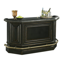 Howard Miller - Northport Home Bar in Black w Padded Armrest - Black Finish.   75.8 in. W x 27.5 in. D x 43 in. H ; (539 lbs)