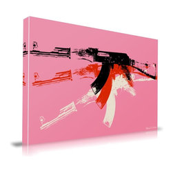 """Apt2B - AK-47' Print by Maxwell Dickson, 16"""" x 20"""" - This pop art–style print presents an AK-47 in bright mod colors for a retro gangster vibe. Try it with solid white or red retro furniture for a hip look."""