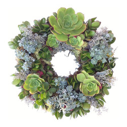 "Urban Farm Girls - Living Wreath Maya 12"" - A living succulent wreath adds a touch of green to your home - or to someone else's! This hand-crafted living wreath made with live plants is a perfect gift. This 10"" living succulent wreath is planted with jade echeverias and sedum. Great indoors or out."