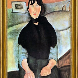 "Amedeo Modigliani-16""x24"" Framed Canvas - 16"" x 24"" Amedeo Modigliani Dark Young Woman Seated by a Bed framed premium canvas print reproduced to meet museum quality standards. Our museum quality canvas prints are produced using high-precision print technology for a more accurate reproduction printed on high quality canvas with fade-resistant, archival inks. Our progressive business model allows us to offer works of art to you at the best wholesale pricing, significantly less than art gallery prices, affordable to all. This artwork is hand stretched onto wooden stretcher bars, then mounted into our 3"" wide gold finish frame with black panel by one of our expert framers. Our framed canvas print comes with hardware, ready to hang on your wall.  We present a comprehensive collection of exceptional canvas art reproductions by Amedeo Modigliani."