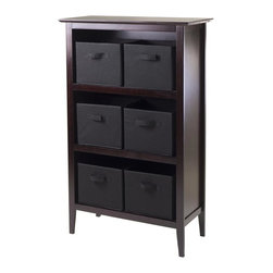 Winsome Wood - 48 in. Wooden Storage Unit - Includes six foldable black fabric baskets. Espresso, chocolate finish. Assembly required. Shelf: 30 in. W x 13.80 in. D x 48 in. H. Baskets: 10.97 in. W x 10.06 in. D x 9 in. H. Storage unit: 30 in. W x 13.8 in. D x 48 in. H