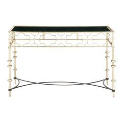 Unique Patterned Metal Glass Console Table - Description: