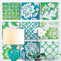Wall Patch Canvases - Set of 9 - Arrange and rearrange these canvases into any configuration that suits your space. The repetition of subtle blues and greens in complementary patterns is like a modern patchwork quilt.