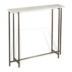 Interlude - Interlude Zahara Console - The Zahara Console combines bright marble with a warm brass base.
