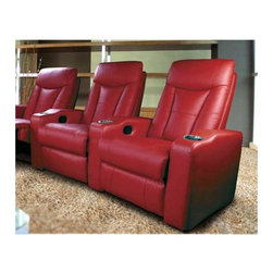 Coaster - Home Theater Seating System w 2 Reclining Cha - Color: RedDesigned for premium style and comfort. Beautiful design back and metal chrome cup holders. Red leather match. 39 3/8 in. W x 40 1/2 in. D x 41 in. H
