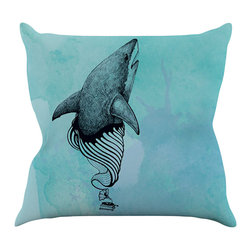 """Kess InHouse - Graham Curran """"Shark Record III"""" Throw Pillow (16"""" x 16"""") - Rest among the art you love. Transform your hang out room into a hip gallery, that's also comfortable. With this pillow you can create an environment that reflects your unique style. It's amazing what a throw pillow can do to complete a room. (Kess InHouse is not responsible for pillow fighting that may occur as the result of creative stimulation)."""
