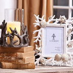 """Coral Frame - White and Gold - Beautifully designed coral Frame holds 4""""x6"""" photo"""