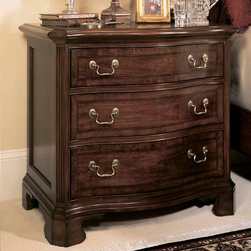 American Drew - American Drew Cherry Grove 3 Drawer Nightstand in Antique Cherry - The 45th Anniversary Cherry Grove Collection is a blending of new and old adaptations from 18th century and higher end traditional styling. Georgian, Edwardian, Sheraton along with Queen Anne elements create this beautiful assortment of furniture. Cathedral cherry veneers, alder solids and select hardwoods create a new and exciting collection of bedroom, dining room and occasional for American Drew. Cherry Grove features many new items that have been designed to fill the needs of your home along with many proven winners that have existed since the very beginning. Scale and dimensions have been addresses to better suit today's standard of living. Cherry Grove now offers you a variety of opportunities to complement multiple decorating environments. In the American Drew tradition, attention to detail and exquisite craftsmanship make every piece an heirloom. You will be investing in a timeless piece of furniture that will be cherished for generations to come. - 791-421.  Product features: Belongs to Cherry Grove Collection by American Drew; Nightstand; 3 Drawers; Veneer drawer fronts; Wooden drawer guides; Designs Feature Ornate Detail and Beveled Crown Molding; Durable construction; Alder solids and cherry veneers; Select hardwoods; Classic Antique Cherry Color finish; Traditional Style. Product includes: Nightstand (1). 3 Drawer Nightstand in Antique Cherry belongs to Cherry Grove Collection by American Drew.