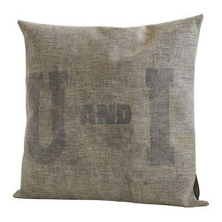 "U and I Sugar Beet Sack Down Pillow II - Made from antique sugar beet sacks we got our hands on during a trip to Utah.  Originally from the Utah & Idaho Sugar Beet Farm, hence the U & I, we've crafted these 18"" X 18"" down-filled pillows ourselves.  We've finished them off with a vintage brass laundry pin -- and since we're making each one of these from vintage materials, you'll be getting a truly one-of-a-kind cushion."