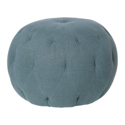 "Kathy Kuo Home - Lana Global Bazaar Firm Denim Blue Linen Round Ottoman - 26"" - Go ahead, take a seat.  This ottoman is built to do double duty as a stylish place to sit or rest your feet.  Button tufted and filled with the finest, firm filling, this ottoman makes a stylish addition to a wide variety of interior styles from Global Bazaar to Eclectic Modern and beyond.  Upholstered in a denim blue linen, this ottoman can also be covered in whatever fabric you choose. The possibilities are endless."