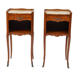 Consigned Pair of Night Stands Louis XV-Style France - Pair of satinwood Italian or French open shelf serpentine nightstands or side cabinets, each has a marble top above a single pull out drawer decorated with marquetry and gilt metal mounts.