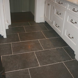 Belgium Bluestone - Eccologie supplied this wonderfull textured belgium Bluestone floor, It is made with 16x24 flagstones distressed with uneven bushammered application. It is installed with a random running band pattern makes it look olderEccologie