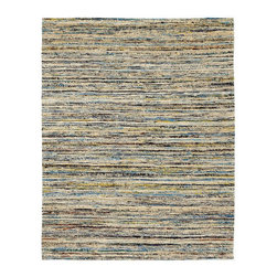 Anji Mountain - 4' x 6' Topaz Saree Rug - Stunning color palettes and subtle gradient patterns abound in our Cosmos collection. This flat weave pile is constructed of carefully selected recycled material from vintage Indian sarees. Each rug is one of a kind and offers a unique juxtaposition of tradition, elegance and sustainability.