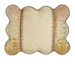 Sweet Dreams - Standard Scalloped Sham with Beaded Center - IVORY/YELLOW/PINK (STANDARD) - Sweet DreamsStandard Scalloped Sham with Beaded CenterDesigner About Sweet Dreams:For over 25 years this family-owned company has been a leader in opulent luxury bedding and decorative pillows. Recognized as an innovator in heirloom-quality home textiles Sweet Dreams creates collections of true elegance and aesthetic beauty using made-in-USA craftsmanship and choice fabrics from around the world.