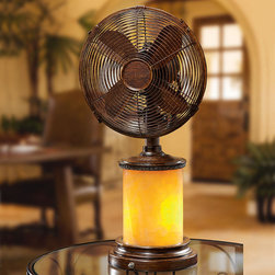 """Frontgate - Lana Tabletop Fan/Lamp - Buff brown wood finished frame. Three speeds: low speed is 900 RPM, medium speed is 1,100 RPM, high speed is 1,280 RPM. Oscillating. 10"""" dia. fan head. Whisper quiet 20-watt motor. The Lana Tabletop Fan/Lamp makes a stunning design statement with its yellow mosaic glass base that illuminates like translucent marble when the light function is turned on. With its deep brown accents, this piece is elevated from being merely functional to beautifully decorative.  .  .  . .  ."""