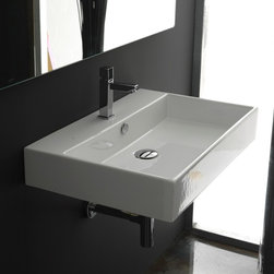"""WS Bath Collections Unlimited 70 Wall Mount Sink 27.6"""" - Unlimited 70 by WS Bath Collections 27.6 x 16.7 Wall-mount or Countertop Bathroom Sink/ Washbasin with Faucet Hole, with Overflow, in Ceramic White"""