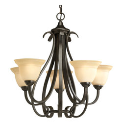 Progress Lighting - Progress Lighting P4416-77 Torino Five-Light Forged Bronze Chandelier With Tea-S - Elegantly formed five-light chandelier featuring soft tea-stained, bell-shaped glass. Distinctive ebbing and flowing of flat steel arms and scroll accents are hand painted in a Forged Bronze finish entailing black and brown tones. With a timeless appeal, this Torino fixture is supplied with six feet of 9 gauge chain for ceiling chain mount.