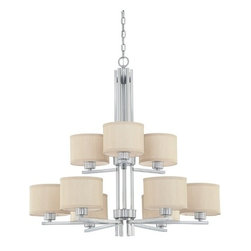 Dolan Designs Lighting - Two-Tier Nine-Light Chandelier with Beige Fabric Shades - 2942-09 - Contemporary / modern satin nickel 9-light chandelier. The fabric shades helps to give off a warm glow to any room or hallway. Includes 6 feet of chain and 9 feet of wire. Takes (9) 60-watt incandescent A19 bulb(s). Bulb(s) sold separately. UL listed. Dry location rated.