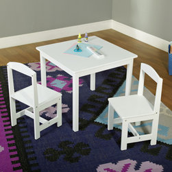 None - White 3-piece Hayden Kids Table/Chair Set - This fun 3-piece kids table and chair set is the perfect choice for kids to do arts and crafts, play with their favorite toys, tea parties and more. The set is finished in white, making it easy to match any child's room.