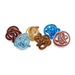 Glass Rope Knots - Set of 6 - Fun and unusual glass rope knots, detailed glass with a rope like texture.