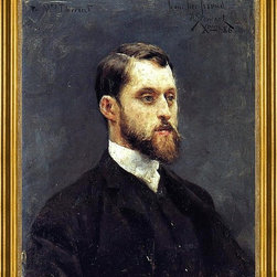 """Julius LeBlanc Stewart-16""""x20"""" Framed Canvas - 16"""" x 20"""" Julius LeBlanc Stewart Self Portrait framed premium canvas print reproduced to meet museum quality standards. Our museum quality canvas prints are produced using high-precision print technology for a more accurate reproduction printed on high quality canvas with fade-resistant, archival inks. Our progressive business model allows us to offer works of art to you at the best wholesale pricing, significantly less than art gallery prices, affordable to all. This artwork is hand stretched onto wooden stretcher bars, then mounted into our 3"""" wide gold finish frame with black panel by one of our expert framers. Our framed canvas print comes with hardware, ready to hang on your wall.  We present a comprehensive collection of exceptional canvas art reproductions by Julius LeBlanc Stewart."""