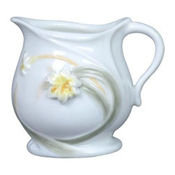 US - 3.5 Inch Glazed White Porcelain Creamer with White Lily Leaves Stems - This gorgeous 3.5 inch glazed white porcelain creamer w white lily leaves stems has the finest details and highest quality you will find anywhere! 3.5 inch glazed white porcelain creamer w white lily leaves stems is truly remarkable.