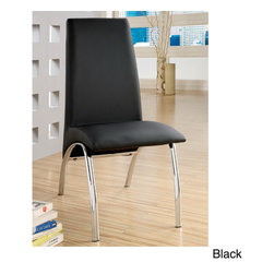 Furniture of America - Furniture of America Alodie Leatherette Dining Chairs (Set of 2) - Modern leather dining chairs can easily transform your dining room and update your space. The black, leather material creates a comfortable, relaxing seat, while the shiny chrome legs create dramatic contrast and striking visual interest.