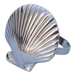"""Handcrafted Nautical Decor - Chrome Seashell Napkin Ring 2"""" - Chrome Napkin Ring - This Chrome Seashell Napkin Ring 2"""" is the perfect addition for those with a nautical theme kitchen. Strong, sturdy, and durable buy a set of these napkin rings to accommodate all of your guests. The chrome finish on this seashell will infuse your dining area with a nautical appearance. Dimensions: 2"""" Long x 2"""" Wide x 2"""" High"""