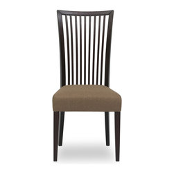 Bryght - 2 x Carolina Latte Fabric Upholstered Light Cappuccino Dining Chair - The Carolina dining chair showcases a simple time honored linear slat back design - a treat for the trendy and traditional household alike. Gently curved wooden high back and a cushioned seat provides adequate support for a relaxed sit. The Carolina dining chair is perfect for everyday use or dinner parties.