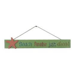 Handcrafted Nautical Decor - Wooden Beach Paradise Just Ahead Sign 24'' - Our   Wooden Beach Paradise Just Ahead Sign 24'' is the perfect choice to display   your affinity for decorating a beach house. Whether placing this sign in a beach   kitchen, using it as a coastal decorating idea, or hanging it up as part of   your beach bedroom decor, one thing is for   certain: you are sure to inject the beach lifestyle into your humble   abode.------    Easily mountable to hang outside or inside--    Solid wooden plank--    Handcrafted and highly detailed--
