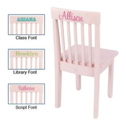 "KidKraft Personalized Avalon Petal Chair - Designed for comfort and strength the KidKraft Personalized Avalon Petal Chair will comfortably seat your little ones for years to come. Finished in cool petal pink to brighten any bedroom decor it is built for comfort and classic style and will fit most child-sized tables. Durably crafted in long-lasting Rubberwood and composite wood this child-sized chair will last for hours of play and repetitive rugged use. Dimensions: 13.75L x 13.13W x 26.75H inches. Recommended ages 3-6 years. The Beauty and Benefits of RubberwoodHailing from the maple family of trees the rubber tree is used in the manufacture of high-end furniture. This durable Asian hardwood is valued for its dense grain minimal shrinkage attractive color and acceptance of different finishes. It is also prized as an """"environmentally friendly"""" wood as it makes use of trees that have been cut down at the end of their latex-producing cycle. About KidKraftKidKraft is a leading creator manufacturer and distributor of children's furniture toy gift and room accessory items. KidKraft's headquarters in Dallas Texas serves as the nerve center for the company's design operations and distribution networks. With the company mission emphasizing quality design dependability and competitive pricing KidKraft has consistently experienced double-digit growth. It's a name parents can trust for high-quality safe innovative children's toys and furniture."
