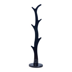 Welland - Welland Wood Coat Rack Stand Hanger, 68inch Height, Gloss Black - Organize your home with this contemporary solid wood coat rack. A beautiful lustrous glossy finish and a sturdy pedestal base brings plenty of stylish storage into your living space. Its simplicity makes it easy to create functionality in your entryway, hallway or living room. This triple tiered coat rack is ideal, convenient and a necessity for all.